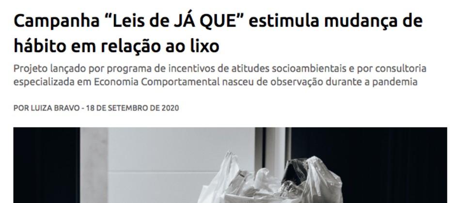 """Imagem do post: Campanha """"Leis de JÁ QUE"""" estimula mudança de hábito em relação ao lixo"""