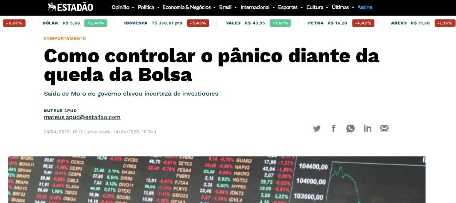 Imagem do post: Matéria no Estadão - Como controlar o pânico diante da queda da Bolsa
